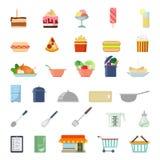 Vlak app van het websitevoedsel pictogram: het winkelen maaltijdvoedsel het koken Stock Fotografie