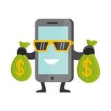 Vlak Bedrijfsconceptenbeeldverhaal Smartphone die Geld verdienen Royalty-vrije Stock Afbeeldingen