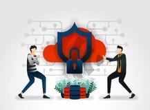 vlak beeldverhaalkarakter de ontwikkelaars houden wolkenopslag, server, database van aanvallen door dieven en hakkers mede veilig vector illustratie