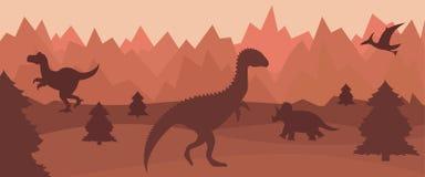 Vlak berglandschap met silhouetten van dinosaurussen vector illustratie