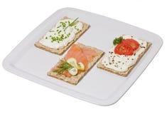 Vlak brood met bovenste laagjes Royalty-vrije Stock Foto's