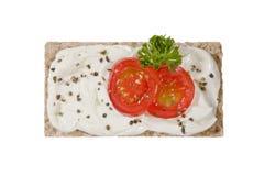 Vlak brood met roomkaas Royalty-vrije Stock Afbeelding