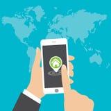 Vlak concept - overhandig holding mobiele telefoon met gps app op het scherm die - naar een huis zoeken vector illustratie