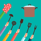 Vlak concept voor het koken Stock Foto's