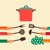 Vlak concept voor het koken Royalty-vrije Stock Afbeelding