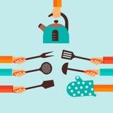 Vlak concept voor het koken Royalty-vrije Stock Afbeeldingen