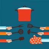 Vlak concept voor het koken Stock Afbeeldingen
