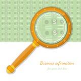 vlak concepten bedrijfspictogrambankbiljet door vergrootglas Stock Fotografie