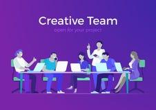 Vlak creatief team bedrijfsvergaderzaalrapport ve royalty-vrije illustratie