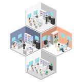 Vlak 3d isometrisch abstract binnenlands de afdelingenconcept van de bureauvloer Mensen die in bureaus werken stock illustratie