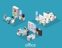 Vlak 3d isometrisch abstract binnenlands de afdelingenconcept van de bureauvloer Mensen die in bureaus werken vector illustratie