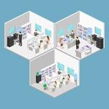 Vlak 3d isometrisch abstract binnenlands de afdelingenconcept van de bureauvloer Mensen die in bureaus werken royalty-vrije illustratie