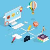 Vlak 3d isometrisch concept online onderwijs Stock Afbeelding