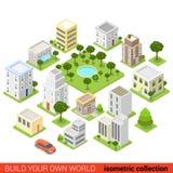 Vlak 3d isometrisch infographic de slaapzaalgebied van de stadsbouwsteen Stock Foto's