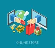 Vlak 3d isometrisch online het Web infographic concept van de opslagelektronische handel Royalty-vrije Stock Foto