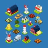Vlak 3d isometrisch vastgesteld de objecten van het infographicslandbouwbedrijf hulpmiddelmateriaal Stock Afbeelding