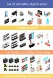 Vlak 3d isometrisch winkelcomplexconcept reeks elementen voor winkelcentrum vector illustratie