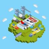 Vlak 3d Web isometrisch concept Mobiele app ontwikkeling vector illustratie