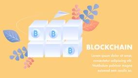 Vlak de banner Vectormalplaatje van de Blockchaintechnologie vector illustratie