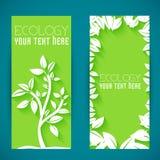 Vlak de bannersconcept van het ecoblad Vector illustratie Royalty-vrije Stock Foto