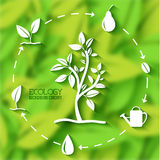 Vlak de bannersconcept van het ecoblad Vector illustratie Stock Foto
