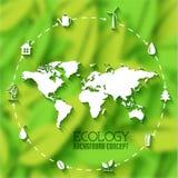 Vlak de bannersconcept van het ecoblad Vector illustratie Royalty-vrije Stock Afbeeldingen
