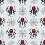 Vlak de faunapatroon van het kleuren vector naadloos wild met zwarte weduwespin vereenvoudigd De stijl van het beeldverhaal insec Stock Foto's