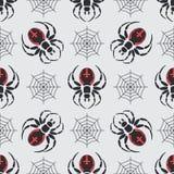 Vlak de faunapatroon van het kleuren vector naadloos wild met zwarte weduwespin vereenvoudigd De stijl van het beeldverhaal insec Stock Fotografie