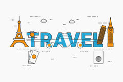 Vlak de reisconcept van het lijnontwerp met pictogrammen en elementen Stock Afbeelding