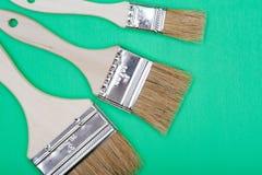 Vlak Chip Painting Brush dat op groen wordt geïsoleerd stock afbeelding