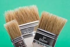 Vlak die Chip Painting Brush op groen wordt ge?soleerd stock foto's