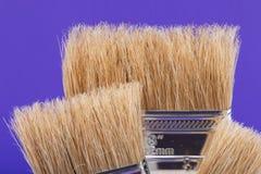 Vlak die Chip Painting Brush op purple wordt ge?soleerd stock fotografie