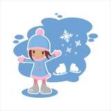 Vlak die meisje van de winter in vectorformaat wordt geplaatst Royalty-vrije Stock Afbeeldingen