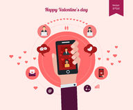 Vlak die ontwerp voor pictogrammen voor Valentijnskaartendag wordt geplaatst Royalty-vrije Stock Afbeeldingen