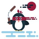Vlak die pinguïnkarakter als ninja met nunchaku wordt gestileerd royalty-vrije illustratie