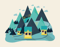 Vlak ecoontwerp van abstract idyllisch dorp op heuvels, landelijk landschap met gebied, huis, bos, rivier vector illustratie