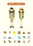 Vlak geïsoleerd beeldverhaalpaar met wandelingsmateriaal vector illustratie