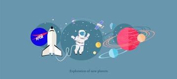 Vlak Geïsoleerde Pictogram van exploratie het Nieuwe Planeten stock illustratie
