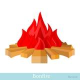 Vlak geïsoleerde vuurvlam en brandhout Stock Foto's