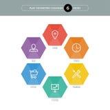 Vlak geometrisch diagrammalplaatje voor uw bedrijfspresentatie met tekstgebieden en pictogrammen Stock Afbeeldingen