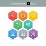 Vlak geometrisch diagrammalplaatje voor uw bedrijfspresentatie met tekstgebieden en pictogrammen Royalty-vrije Stock Fotografie