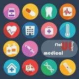 Vlak geplaatst ontwerppictogram - Medisch Stock Afbeelding