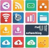 Vlak geplaatst ontwerppictogram - Voorzien van een netwerk Stock Afbeeldingen