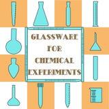 Vlak glaswerk voor chemische en biologische experimenten Stock Afbeeldingen