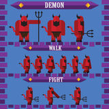 Vlak Halloween-spelkarakter voor de duivel van het ontwerpdemon Royalty-vrije Stock Foto