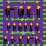 Vlak Halloween-spelkarakter voor de hefboom van de ontwerppompoen Stock Afbeelding