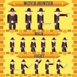 Vlak Halloween-spelkarakter voor de jager van de ontwerpheks Royalty-vrije Stock Foto