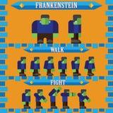 Vlak Halloween-spelkarakter voor ontwerp frankenstein Stock Fotografie