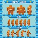Vlak Halloween-spelkarakter voor ontwerprobot golem Stock Foto's