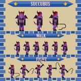 Vlak Halloween-spelkarakter voor ontwerpsuccubus Stock Afbeeldingen